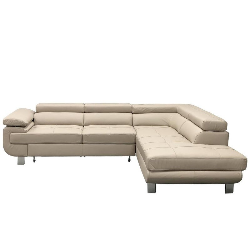 LOTUS Leather Sectional Sleeper Sofa, Right Corner