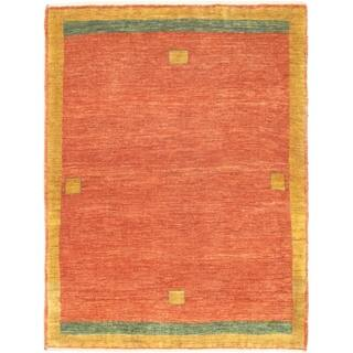 eCarpetGallery Hand-knotted Kashkuli Gabbeh Copper Wool Rug - 3'7 x 4'7