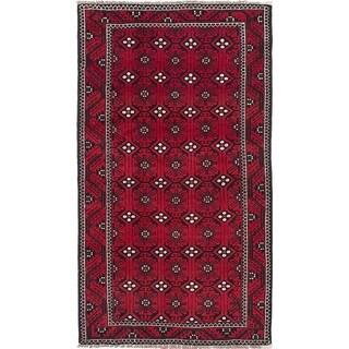 eCarpetGallery  Hand-knotted Finest Baluch Dark Burgundy Wool Rug - 3'9 x 6'8