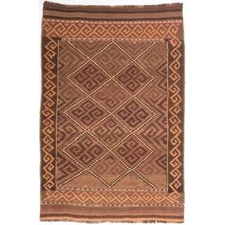eCarpetGallery  Flat-weave Qashqai Brown Wool Kilim - 5'10 x 8'10