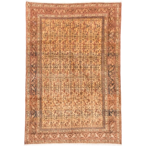 eCarpetGallery Hand-knotted Abadeh Light Gold Wool Rug - 6'11 x 10'0