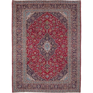 eCarpetGallery  Hand-knotted Kashan Dark Burgundy Wool Rug - 8'8 x 13'2