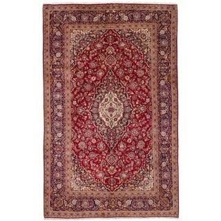 eCarpetGallery  Hand-knotted Kashan Red Wool Rug - 6'5 x 10'7
