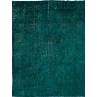 eCarpetGallery Hand-knotted Vogue Dark Green, Dark Green Wool Rug - 9'5 x 12'8