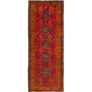 eCarpetGallery  Hand-knotted Ardabil Red Wool Rug - 4'10 x 12'9