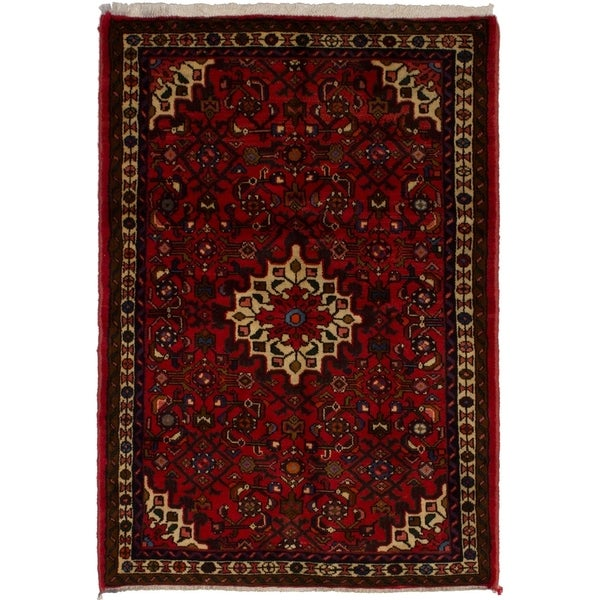 eCarpetGallery Hand-knotted Hosseinabad Red Wool Rug - 3'4 x 4'9