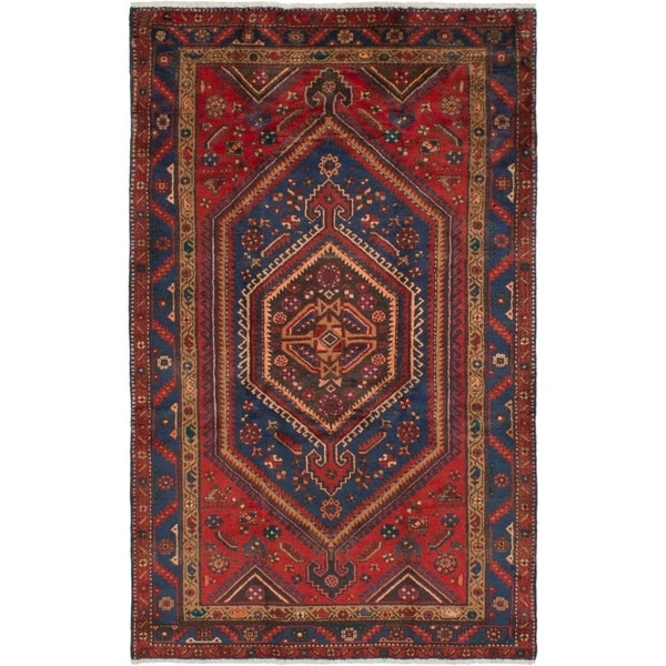 eCarpetGallery Hand-knotted Hamadan Red Wool Rug - 4'9 x 7'9