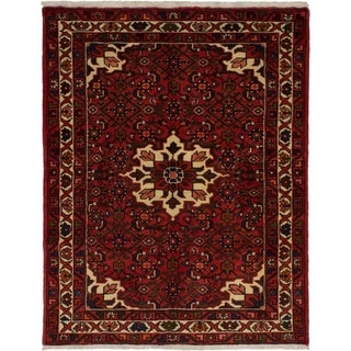 eCarpetGallery  Hand-knotted Hosseinabad Red Wool Rug - 3'7 x 4'6