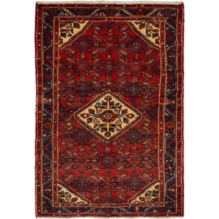 eCarpetGallery  Hand-knotted Hosseinabad Red Wool Rug - 3'7 x 5'3