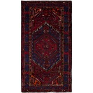 eCarpetGallery  Hand-knotted Hamadan Dark Red Wool Rug - 4'2 x 7'8