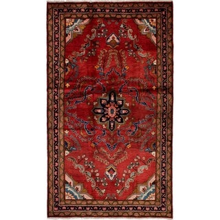 eCarpetGallery  Hand-knotted Lilihan Red Wool Rug - 4'1 x 7'3