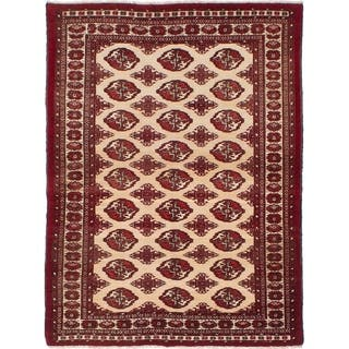eCarpetGallery Hand-knotted Turkoman Cream Wool Rug - 3'9 x 5'0