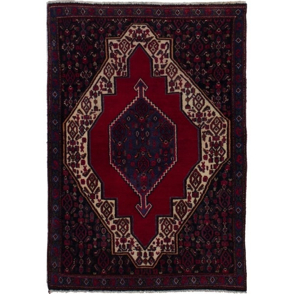 eCarpetGallery Hand-knotted Senneh Red Wool Rug - 2'7 x 3'8