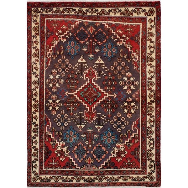 eCarpetGallery Hand-knotted Joshagan Red Wool Rug - 3'6 x 4'11