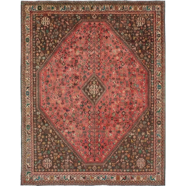 eCarpetGallery Hand-knotted Shiraz Light Red Wool Rug - 7'9 x 9'10