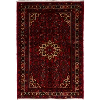 eCarpetGallery  Hand-knotted Hosseinabad Red Wool Rug - 3'4 x 4'10
