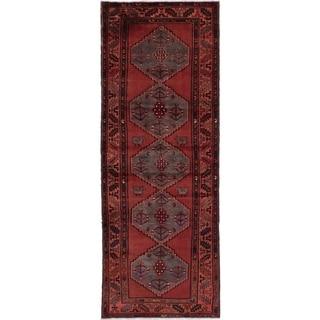 eCarpetGallery  Hand-knotted Hamadan Dark Red Wool Rug - 3'7 x 9'10