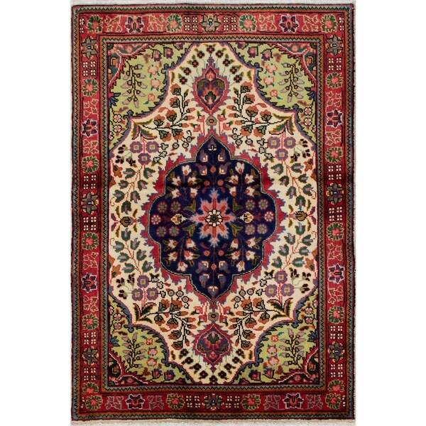 eCarpetGallery Hand-knotted Tabriz Cream Wool Rug - 3'4 x 5'0