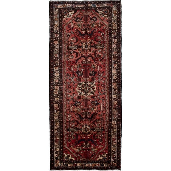 eCarpetGallery Hand-knotted Hamadan Red Wool Rug - 4'0 x 9'10