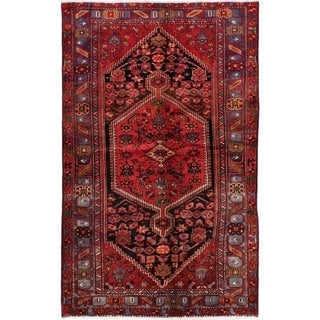 eCarpetGallery  Hand-knotted Hamadan Red Wool Rug - 4'6 x 7'4