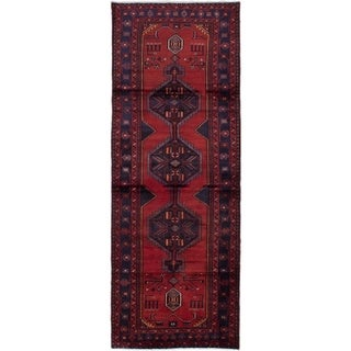 eCarpetGallery  Hand-knotted Hamadan Dark Red Wool Rug - 3'7 x 9'9