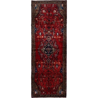 eCarpetGallery  Hand-knotted Hamadan Red Wool Rug - 3'6 x 9'10