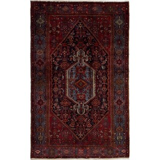 eCarpetGallery  Hand-knotted Hamadan Dark Red Wool Rug - 4'9 x 7'5