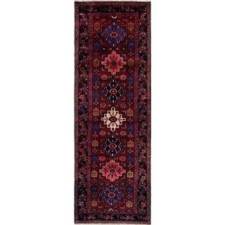 eCarpetGallery  Hand-knotted Hamadan Dark Red Wool Rug - 3'6 x 10'6
