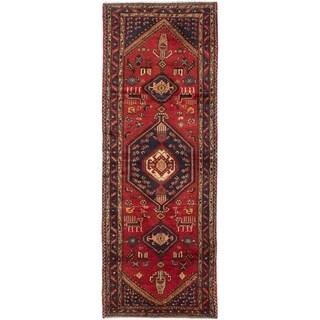 eCarpetGallery  Hand-knotted Hamadan Dark Red Wool Rug - 3'6 x 9'8