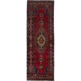 eCarpetGallery  Hand-knotted Hamadan Red Wool Rug - 3'5 x 10'3