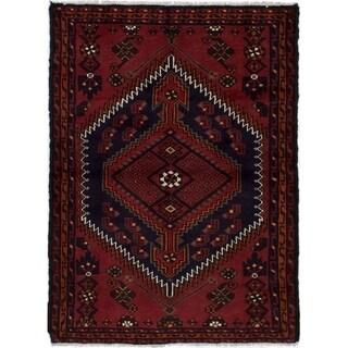 eCarpetGallery  Hand-knotted Hamadan Dark Red Wool Rug - 3'5 x 4'7