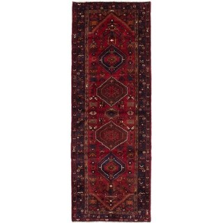 eCarpetGallery  Hand-knotted Hamadan Dark Red Wool Rug - 3'5 x 9'10