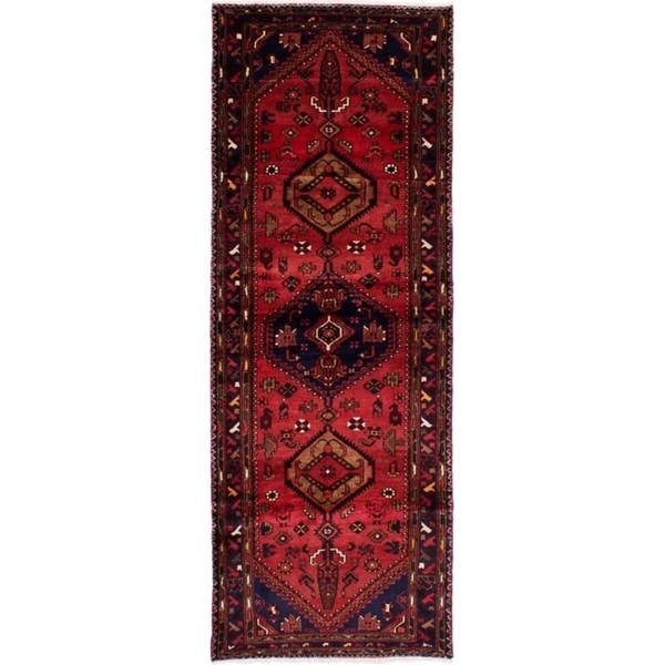 eCarpetGallery Hand-knotted Hamadan Red Wool Rug - 3'3 x 9'4