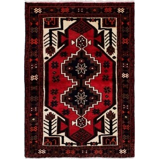 eCarpetGallery  Hand-knotted Hamadan Red Wool Rug - 3'4 x 4'9