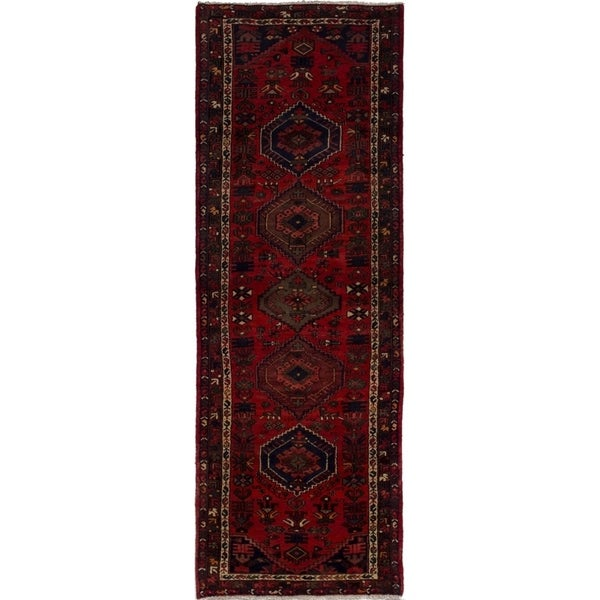 eCarpetGallery Hand-knotted Hamadan Red Wool Rug - 3'5 x 9'11