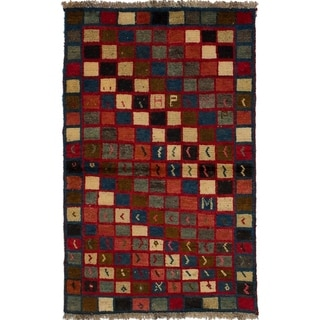 eCarpetGallery  Hand-knotted Persian Gabbeh Red Wool Rug - 3'3 x 4'11
