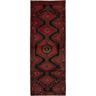 eCarpetGallery  Hand-knotted Hamadan Red Wool Rug - 3'9 x 10'4