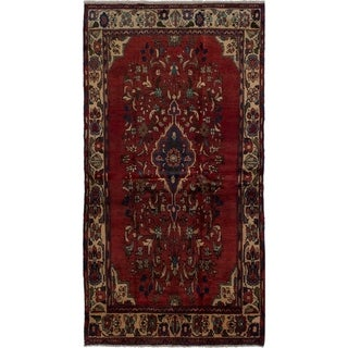 eCarpetGallery  Hand-knotted Hamadan Red Wool Rug - 4'1 x 7'11