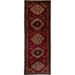 eCarpetGallery  Hand-knotted Ardabil Red Wool Rug - 3'5 x 10'1