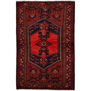 eCarpetGallery  Hand-knotted Hamadan Red Wool Rug - 3'3 x 5'0