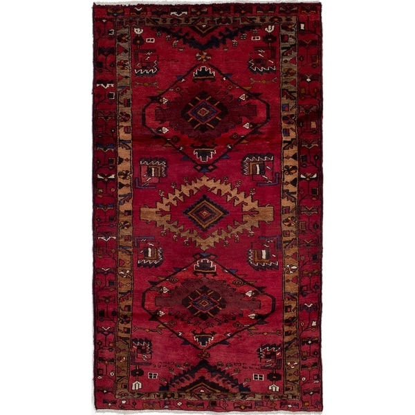 eCarpetGallery Hand-knotted Hamadan Red Wool Rug - 3'6 x 6'4