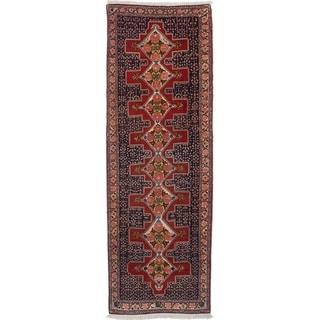 eCarpetGallery  Hand-knotted Senneh Dark Navy, Red Wool Rug - 2'10 x 9'2