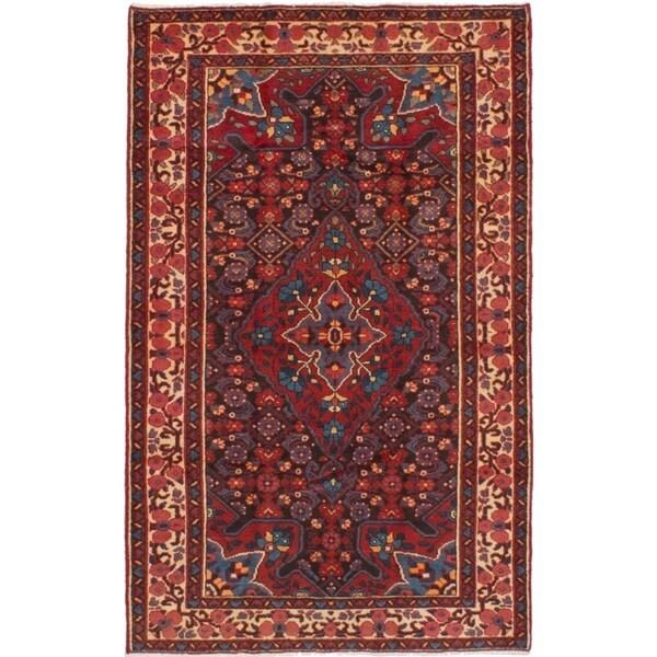 eCarpetGallery Hand-knotted Bakhtiar Dark Navy, Red Wool Rug - 4'4 x 7'1