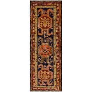 eCarpetGallery  Hand-knotted Ardabil Dark Navy, Dark Red Wool Rug - 3'5 x 10'0