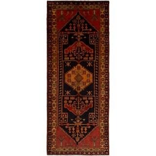 eCarpetGallery  Hand-knotted Ardabil Dark Navy, Red Wool Rug - 4'0 x 10'0