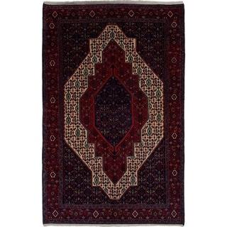 eCarpetGallery  Hand-knotted Senneh Dark Navy, Red Wool Rug - 4'9 x 7'5
