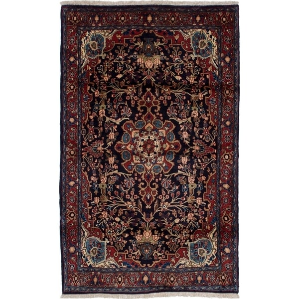 eCarpetGallery Hand-knotted Bijar Dark Navy, Red Wool Rug - 3'7 x 5'10