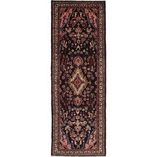 eCarpetGallery  Hand-knotted Hamadan Dark Navy Wool Rug - 3'7 x 10'7