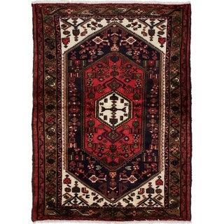 eCarpetGallery  Hand-knotted Hamadan Dark Navy, Red Wool Rug - 3'6 x 4'10