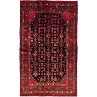 eCarpetGallery  Hand-knotted Hamadan Dark Navy, Red Wool Rug - 4'2 x 7'1